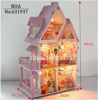 Wholesale Hot Sunshine Alice Pink DIY Wooden Miniatura Doll House Furniture Handmade D Miniature Dollhouse Toys Gits English instructions