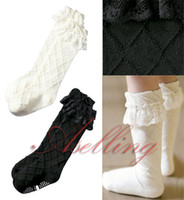 baby white ruffle socks - 13 cm Hot sell Cotton Lace Socks Toddlers Kids Child Girls Vintage Lace Ruffle Frilly Cotton Knee High Socks Baby girls keen socks White