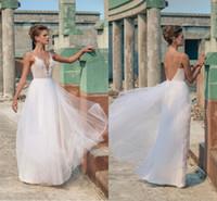 2016 Riki Dalal Beach barato vestidos de novia correas espaguetis espalda abierta barrer de tren vestidos de novia por encargo del envío libre de la promoción en línea