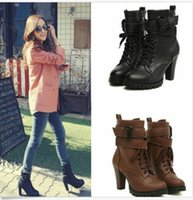 Wholesale Womens Platform Lace Up PU Leather High Heel Ankle Martin Boots Motorcycle Shoes