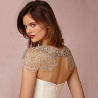 beaded beige dress - Luxury Expensive Bolero Jacket Wedding Dress Custom High Quality Bling Beaded Rhinestone Sheer Jewel Neck Tulle Bridal Wraps