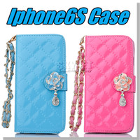 Cheap 2016 For samsung s7 Case Multi-Function Wallet PU Card Slot Case Protable Flower Chain Diamond Pendant Note 5 Iphone 6 Case Opp Package