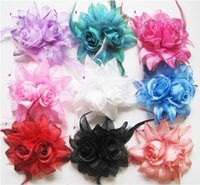 Wholesale 20pcs Chiffon Rose Fabric Flower Wedding Corsage Pin Brooch With Feather Wrist Flowers Clothing Accsseries Hair Accessories