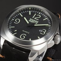 auto paint black - Shark Army Men Relogio Luminous Paint m Water Resistant Stainless Steel Black Leather Band Military Quartz Sport Watch SAW185