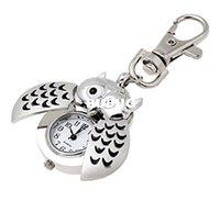 Cheap PUPUG.Pupug.TM Mini Key Ring owl Quartz Watch Clock- Silver