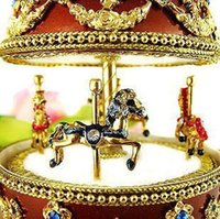 art craftsman - Craftsman house luxury rides a horse egg carving rotating music box creative birthday gift ART A Easter
