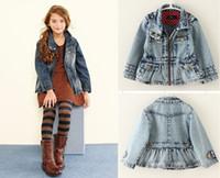 5 PC / porción de la manera de los bebés de la primavera / otoño Denim chaquetas de manga larga Recoger cintura chaqueta de jean péndulo falda Abrigos niños capa de los niños