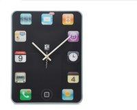 Cheap 5sets retail box more discount Free shipping DIY clock FOR Ipad shape Wall clock Mute Wall Clock Tablet PC screen clock