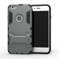 back drop - Iron Man Stand Holder Case Hybrid TPU PC Back Cover Shock Proof Drop Proof Heavy Duty Armor Case For Samsung Galaxy S6 S6 Edge IPhone