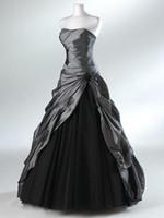achat en gros de robes réelles noir-Robe de bal noire et noire Robes de mariée gothique pour les mariées Robe de soirée sans bretelles Longueur de plancher Robes de mariée Vestidos de Novia