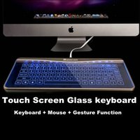 Wholesale Bastron Ultra Slim Touch Screen Glass Keyboard with backlight with Mouse and Gesture Function for Mac OSX Windows Computer pc