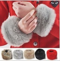 Wholesale Brand New Winter Women Imitation Rabbit Fur Wrist Sleeve Sleeve Ornament Cuff Wristband winter Oversleeve Gloves LJJD872 pairs