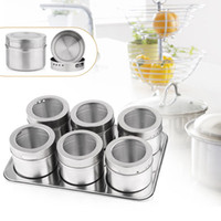 Wholesale 6pcs Magnetic Cruet Condiment Spices Set Stainless Steel Condimento Canister Bottle Seasoning Tools
