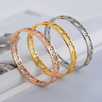 Wholesale 2014 Hot fashion silver rose yellow gold L stainless steel hollow roman numbers cuff bracelet jewelry for women