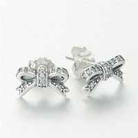 american ale - ER115 One Pair Earrings Promotion Christmas S925 ALE Crystal Bow Women s Stud Earrings Sterling Silver Charm Earring for Pandora