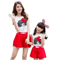 Wholesale Cute Bow Mother Daughter Matching Clothes Shorts T Shirt Mommy And Me Clothes Family Clothing Sets Printing Family Outfits