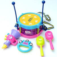 Wholesale Happy Clap Drum Beat Toy Sand Hammer Rattle Horn Children S Educational Instrument Set Colorfully Toy Set Educational Toys