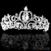 Cheap Wedding Bridal Princess Austrian Crystal Prom Hair Tiara Crown Veil Headband Silver Wedding 1PXQ