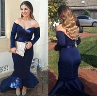 Cheap Kim Kardashian Dark Navy Sexy Mermaid Long Sleeve Evening Dresses Custom Make Dubai Arabic Off-shoulder Formal Party Gown