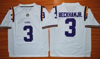Wholesale LSU Tigers Odell Beckham JR Purple White College Football Jersey Embroidery Logo Size S XL