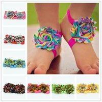baby rainbow sandals - 8pairs Baby Rainbow Swirl Barefoot Sandals Infant Toddler shabby chiffon flower shoes Newborn baby flower shoes