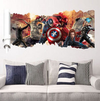 Wholesale Cartoon avengers alliance Wall Sticker popular super Wall Decals for kids rooms Child Wallpaper D Art Decor Decals