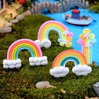 Wholesale 1Pcs Resin Cabochon Rainbow Craft Decoration Garden Ornament Miniature Figurine Resin Craft Plant Pots Fairy Dollhouse Decor