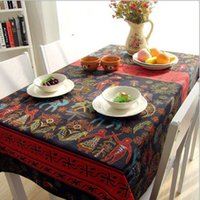 asian table linens - Southeast Asian Elephant Pattern Cotton Linen Dining Tablecloth Ethnic Style Table Cloth for Party Picnic Outdoor Use