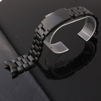 band interface - Fashion Watch Accessories Black Stainless Steel Watch Band Strap Radian interface curved end Solid link mm mm mm mm