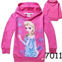 Wholesale Frozen Girl Anna Elsa Princess Hoodies Kids Sweater Children Autumn Long Sleeve Cotton Coat Hooded Children