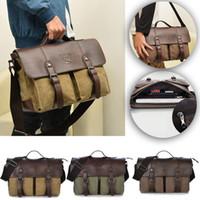 Wholesale Men s Vintage Canvas Bag Messenger Leather Shoulder Retro Briefcase Satchel Bags