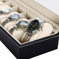Wholesale 6 Grid Leather Watch Display Case Jewelry Collection Storage Organizer Box Holder