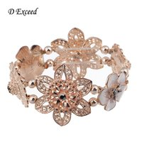 al por mayor vendimia tramo brazalete de diamantes de imitación-European Vintage pulseras de brazalete de Harkin para las mujeres Amplio esmalte de pulseras de esmalte hecho a mano Rhinestone Brazaletes de flores BL140290