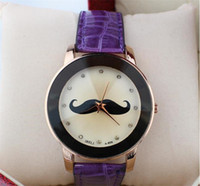 best moustaches - Best Cute Cartoon Watches Sale Moustache Leather Straps Watchband Watches For Women Ladies Dress Crystal Match