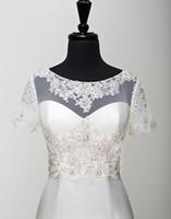 beaded shawl wrap - Bridal Jackets Boleros Real Pictures Short Sleeves Accessories Bridal Shawl Wrap Bolero Jacket Wedding Dress Lace Beaded