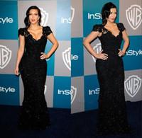 Precio de Vestidos cortos kim kardashian-2014 Kim Kardashian famosos vestidos de noche negros Lentejuelas Encaje Vestidos de noche con manga corta con cuello en V piso-longitud de la envoltura de las mujeres de baile vestido