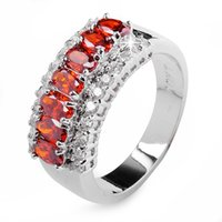 Wholesale Exclusive Ruby Lady s KT white Gold Filled Classic rings sz6