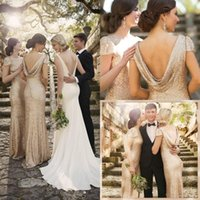 rose water - 2016 Rose Gold Long Bridesmaid Dresses For Cheap Backless Wedding Party Evening Gowns Bling Sorella Vita Maid Of Honor Sequins Dresses