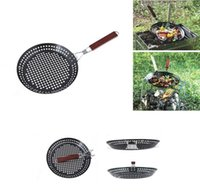 barbecue seafood - 2015 Pizza Grill Pan Barbecue Stainless Steel Circularity Pan Non Stick Panela With Foldable Wood Handle Suit For Seafood
