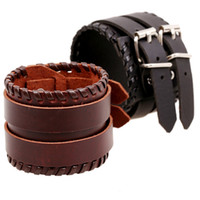 Wholesale Double Layer Genuine Cowhide Leather Belt Bracelets Cuff Surfer Bracelet Wristband Women Men Boys