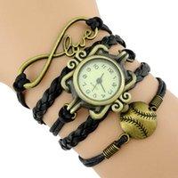 baseball battery - Infinity Love Baseball Softball Wristwatches Wrap Bracelets Sport Black Leather Wax Wrist Watches Unisex Women Girl Fashion Men Gift Custom