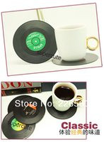 vinyl record - Pieces Set Spinning Retro Vinyl Record Drinks Coasters Vinyl Coaster Cup Mat