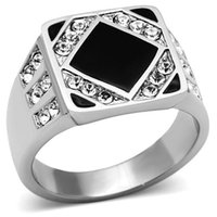 Cheap Men ring stainless steel wedding Ring black epoxy white crystal stone big size Europe and United states style Free shipping