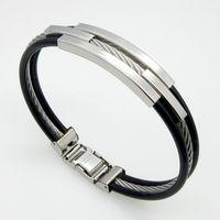 Wholesale Fashion Silver L Stainless Steel Cable Lines Triple Layer Bracelets Leather Bracelets for Men SB01502