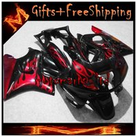 Cheap black red flames CBR600F2 91-94 91 92 93 94 ABS Fairings Body Kit Fairing For honda CBR600 CBR 600 F3 95 96 ABS Plastic Bodywork Set