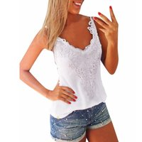 Cheap New Arrival 2016 Sexy Womens Summer Solid Clothes Lace Casual Slim Ladies Tank Tops White Black Shirt blusa de renda Size S-5XL