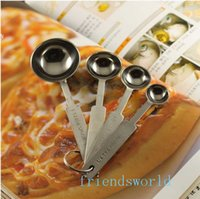 Metal stainless steel measuring spoon - 4 Piece set Deluxe Stainless Steel Measuring Cups Measuring Spoons Valued Set For Baking Coffee Herb Spice New