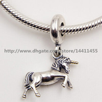 14k real gold - S925 Sterling Silver and K Real Gold Unicorn Fantasy Dangle Christmas Charm Bead Fits European Pandora Jewelry Bracelets Necklaces Pend