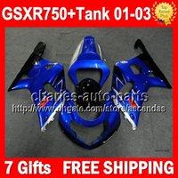 Precio de Suzuki gsxr750 fairing-7Gifts + Tanque para SUZUKI GSXR750 azul negro GSX R750 GSXR 750 01 02 03 3Q457 GSX-R750 K1 azul brillante 3.1 carenados GSXR-750 2001 2002 2003