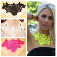 Wholesale Fashion Ribbon Bib Statement Choker Necklace Sexy Lady Girl Crochet Lace False Collar Jewelry Party Gifts